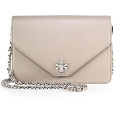 Tory Burch Kira Leather Envelope Clutch ($415) ❤ liked on Polyvore featuring bags, handbags, clutches, apparel & accessories, french grey, grey envelope clutch, gray leather purse, grey purse, tory burch handbags and genuine leather handbags