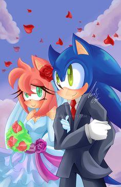 Wedding by ZantChan.deviantart.com on @DeviantArt Sonic And Amy, Sonic Fan Art, Sonic Boom, Sonic The Hedgehog, Hedgehog Art, Amy Rose, Sonamy Comic, Sonic Franchise, Sonic Fan Characters