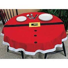 #noël #décoration de table #Santa Suit Tablecloth.