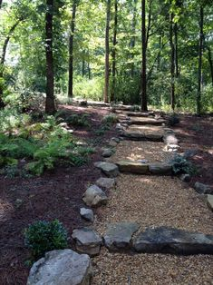 Natural stone and crusher run make a beautiful natural path through the woods