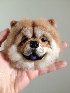 Items similar to Needle wool felt of a baby Chow Chow's head on a picture frame on Etsy - Pets Training Pom Pom Animals, Felt Animals, Dog Crafts, Felt Crafts, Pom Poms, Chow Chow, Felt Pictures, Needle Felting Tutorials, Crochet Diy