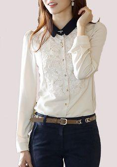 White Plain Appliques Long Sleeve Chiffon Blouse