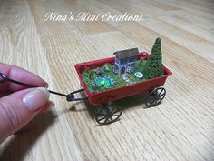 Micro Mini Fairy Garden in a 1:12 scale red wagon ~Created by Nina Eary~