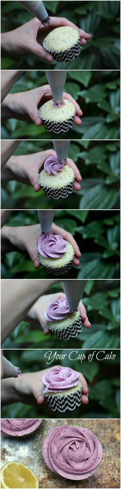 How to make a rose cupcake (use Wilton1M tip but blogger has another brand called Bakers Craft and it's a 2D. It has 5 or 6 triangles, )