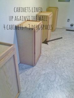 how to build a desk from cabinet units - the economy means not as many people are remodeling, but in the past we've seen many cabinet units at the curb for trash pickup. We may have to recycle the next ones we see & build some workspace/storage