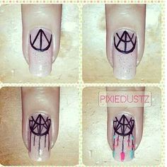 Hippie dream catcher nails how-to Frensh Nails, Love Nails, Diy Nails, Pretty Nails, Hair And Nails, Dream Nails, Nail Polishes, Nail Art Diy, Easy Nail Art