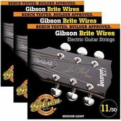 Gibson Brite Wires Medium Electric Guitar Strings by Gibson. $17.97. Gibson Brite Wires are specially formulated to give your electric guitar a crisp attack, with the nickel plating adding warmth to the overall tone. These strings feature Gibson's Swedish steel hex core for added tuning stability. Brite Wires tune up fast and hold their tone longer. No matter what style of music you play, you'll hear why Brite Wires are the choice of professionals world-wide! All Gibson strings ...