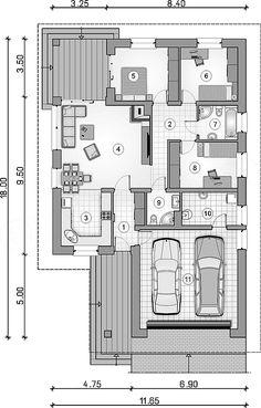 Rzut parteru projektu Bursztyn Plus Maxi Small Floor Plans, Small House Plans, Single Storey House Plans, Garage Plans, Dream House Plans, Household, House Design, Flooring, How To Plan