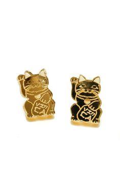 Gold Mirror Maneki Neko Cat Earrings