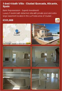 5-bed 4-bath Villa in Ciudad Quesada, Alicante, Spain ▶€555,000 #5bedVillaInSpain #VillaInCiudadQuesada