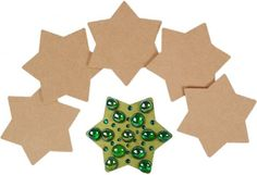 Wooden and MDF Shapes, Cut outs and Models, Star Coasters - 6 pack - MDF.   Paint your own Christmas shape.
