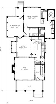 Looking for the best house plans? Check out the Turnball Park plan from Southern Living. Narrow Lot House Plans, Craftsman House Plans, Modern House Plans, Beach House Plans, House Floor Plans, Southern Style Homes, Southern Living House Plans, Storybook Homes, Pole Barn Homes