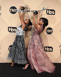 Janelle Monae and Taraji P. Henson of Hidden Figures - omg, best red carpet photo ever!!!!