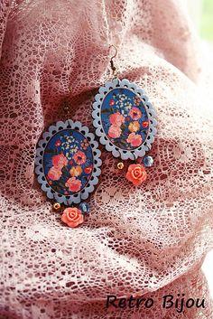 RetroBijou / Folklórne kvetinové naušnice Crochet Earrings, Drop Earrings, Retro, Handmade, Jewelry, Souvenir, Hand Made, Jewlery, Bijoux