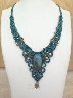 Labradorite peacock macrame necklace in black blue by ARTofCecilia