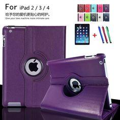 Para caja de la tableta de apple ipad 2 ipad 3 ipad 4 360 grados giratoria de LA PU de Cuero Del Soporte Del Tirón Folio Cover + film Protector de la Pantalla + pluma