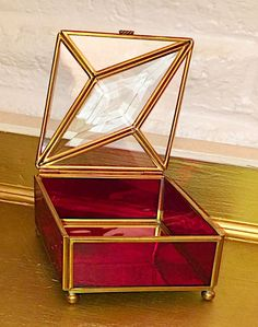Vintage Diamond Etched Red Stained Glass & Brass Jewelry Trinket Via Vermont Box  | eBay