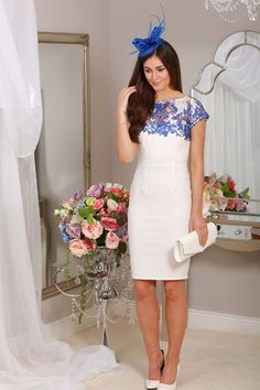 midi bodycon white dress, blue lace overlay, capped sleeves, occasion wear, wedding guest, races