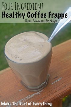 Healthy Coffee Frappe.  Takes 5 minutes in the Blender.  No Sugar.  Tastes like a milkshake.