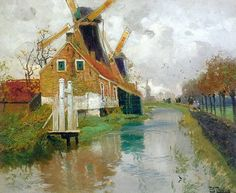 Paintings by Frits Thaulow Norwegian Painter...Landscape with a Mill
