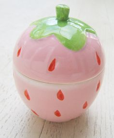 Pink strawberry shape canister-kawaii cute