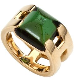 Green Tourmaline in gold, Hermes Hermes Jewelry, Gold Jewelry, Jewelry Rings, Fine Jewelry, Jewellery Box, Jewlery, Bijoux Design, Schmuck Design, Jewelry Design