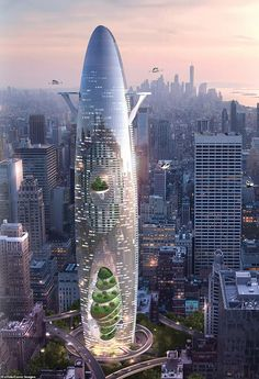 """Titled """"the vertical sustainable city,"""" the supertall skyscraper concept is an expression of the opportunities and constraints urbanistic contexts present Architecture Magazines, Chinese Architecture, Contemporary Architecture, Architecture Design, Futuristic City, Futuristic Architecture, Amazing Architecture, Sustainable City, Sustainable Architecture"""