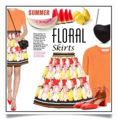 """The Perfect Summer Floral Skirt"" by ewa-naukowicz-wojcik ❤ liked on Polyvore featuring Valentino, Mary Katrantzou, Aquazzura and Floralskirts"