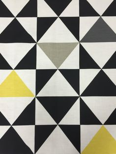 Fabric with black yellow gray and white triangles, geometric triangle, cotton fabric by SanFabric on Etsy