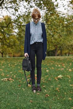 preppy, collar, black, jeans, cardigan, navy, oxfords, socks, fall, patterned, button up, school