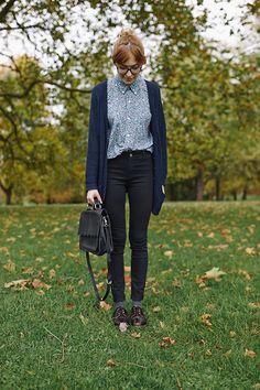 preppy, collar, black, jeans, cardigan, navy, oxfords, socks, fall, patterned, button up, school