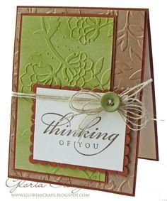 "Beautiful ""Thinking Of You"" Card...Gloria Stengel:Scraps of Life."