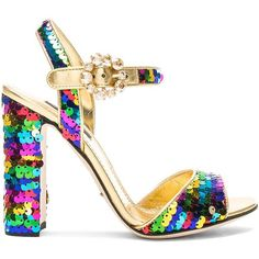 Dolce & Gabbana Sequin Sandals (€270) ❤ liked on Polyvore featuring shoes, sandals, metallic high heel sandals, ankle strap sandals, sequin shoes, metallic sandals and metallic shoes