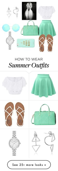 """""""summer outfit"""" by bananagun on Polyvore featuring LE3NO, Miguelina, Billabong, Vera Bradley, ban.do, Victoria Beckham and Kate Spade"""