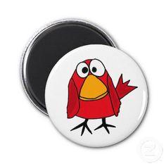 Funny Sad Cardinal Bird Cartoon Fridge Magnet #birds #funny #magnets #cardinals #redbird #art #gifts #zazzle #petspower