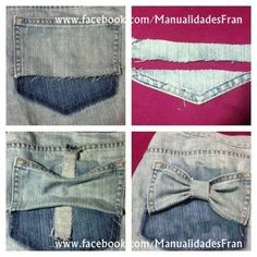 Remodel an old jean with cute bows