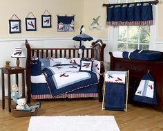 Vintage Airplane Baby Boy Crib Bedding Set - 11pc Nursery Collection White & Navy Blue