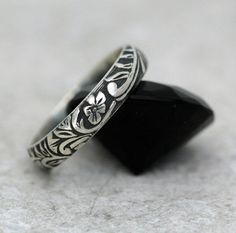 Floral and Scroll Ring in Sterling Silver - Made to Order - Free Shipping in the U.S.. $42.00, via Etsy.