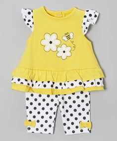 Loving this Yellow & Black Polka Dot Bee Tunic & Pants on #zulily! #zulilyfinds