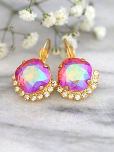 Pink Earrings Christmas Gift Swarovski Drop Earrings by iloniti Pink Earrings, Bridal Earrings, Crystal Earrings, Etsy Earrings, Dangle Earrings, Hair Jewelry, Jewelry Gifts, Jewellery, Stylish Jewelry