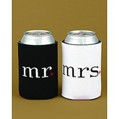 @Overstock - Black and white can coolers feature mr. and mrs. desgins punctuated with small red hearts.  Each holds a standard 12-ounce can.http://www.overstock.com/Gifts-Flowers/Mr.-Mrs.-Can-Coolers/6792738/product.html?CID=214117 $17.49