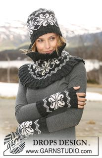 """Set comprises: DROPS hat, neck warmer and wrist warmers with Norwegian pattern in """"Karisma"""". ~ DROPS Design"""
