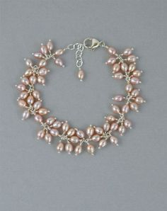 Pink Pearl Wedding Bracelet in Sterling Silver, ...