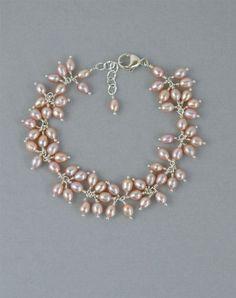 Pink Pearl Wedding Bracelet in Sterling Silver, ...