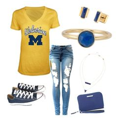 """""""Michigan"""" by tiffany-volkerding on Polyvore featuring Converse and Stella & Dot"""