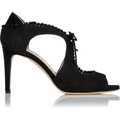 L.K. Bennett Ellena Black Suede Sandals (14.090 RUB) ❤ liked on Polyvore featuring shoes, sandals, black, pom pom sandals, black shoes, black suede sandals, cut out sandals and black sandals