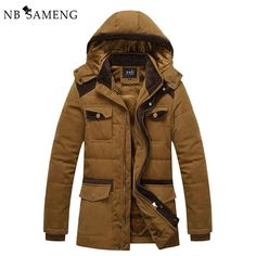 69.26$  Watch now - http://alipye.worldwells.pw/go.php?t=32779420598 - 2016 New Mens Brand Winter Warm Coat With Hood Parka Jacket Men Cotton-Padded Brand Clothing Parka NSWT173 69.26$