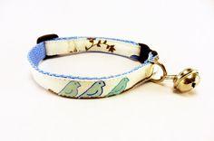 Cat+Collar+BIRDIES+in+Blue+Cat+Collar+Handmade+by+GingersFriends,+$15.00