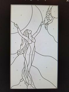 E um esboço para vitral ou pintura em vidro? Stained Glass Patterns Free, Mosaic Patterns, Pattern Art, Quilt Patterns, Stained Glass Angel, Faux Stained Glass, Stained Glass Projects, Sea Glass Art, Mosaic Glass