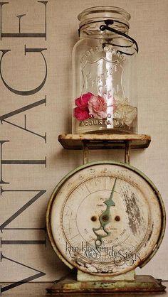 mason jar on a vintage kitchen scale.got both! Awesome idea, doing it!mason jar on a vintage kitchen scale.got both! Awesome idea, doing it!